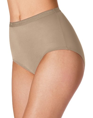 (Bali Women`s Set of 6 Full-Cut-Fit Stretch Cotton Brief - Best-Seller! 8, Soft Taupe)