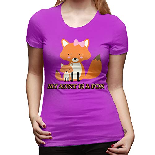 (My Aunt is A Fox Ladies Ringer T-Shirt,Short Sleeve,Women,Girls,Cotton,Comfortable and)