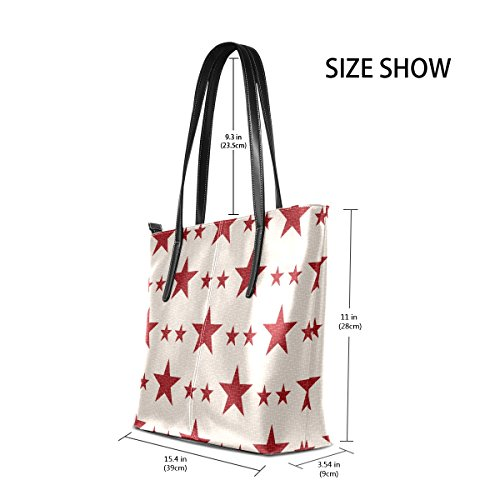 Women's TIZORAX Purses PU Totes Bags Fashion Shoulder Top Patriotic Handbag Handle Leather Stars rrqBCAwxE