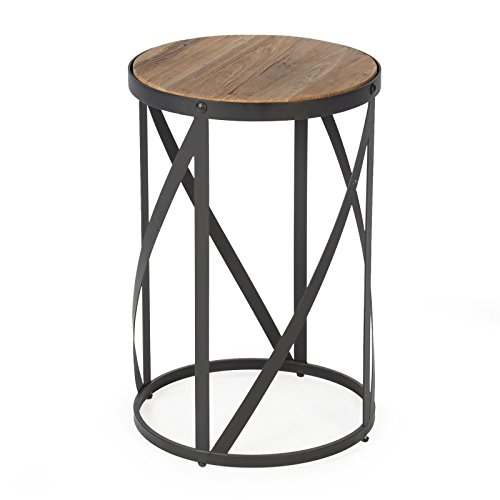 Rustic Industrial Modern Farmhouse Natural Reclaimed Wood Black Metal Round End Table Side Table Accent Table Owen Collection ()