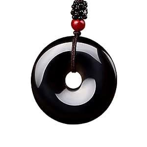 Axmerdal - Collar con colgante de amuleto de protección de ojos de arcoíris de obsidiana negra auténtica