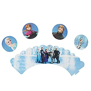 24pc Frozen Cake Topper Baby Shower Child Birthday Party Supplies 12 Piece Cake Topper and 12 Piece Cake Packaging