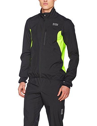 GORE BIKE WEAR 2in1 Men's Cycling Jacket, Super Light, Compact, GORE WINDSTOPPER,  Zip-Off Jacket, Size: M, Black/Neon Yellow, JWELMM