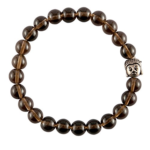 Aatm Natual Healing Gemstone Smoky Quartz Buddha Beaded Charm Bracelet for Healing and Meditation (Beads Size - 7-8 mm). ()