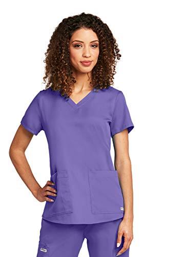 Grey Uniform - Grey's Anatomy Women's Two Pocket V-Neck Scrub Top with Shirring Back, White, 2X-Large