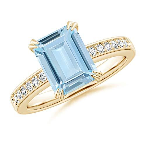 (Octagonal Aquamarine Cocktail Ring with Diamonds in 14K Yellow Gold (9x7mm Aquamarine))