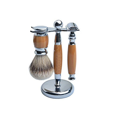 CSB Silvertip Badger Hair 3PCS SET Imitation Faux Wood Grain Handle Resin Metal Stand Holder Shaving Brush And Razor Set with 5PCS Blades