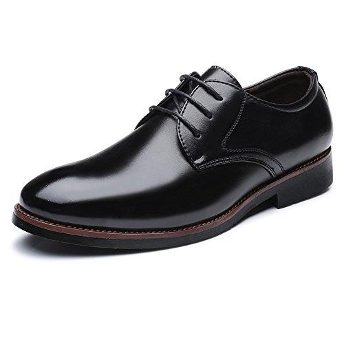 BMD-Shoes Scarpe di pelle, Scarpe da lavoro da uomo da uomo Classic Matte PU Stringate stringate traspiranti in pelle sintetica (Color : Nero, Dimensione : 41 EU) Nero