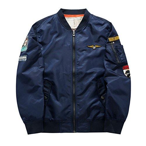 Hzcx Fashion men's classic usa flag badge light weight flight bomber jackets 2016111-MA01-58-DB-US L(44) TAG 3XL by Hzcx Fashion