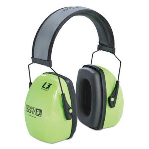Howard Hi-Visibility Earmuffs, Reflective Headband, 30NRR, Grn/Blk (9 Units)