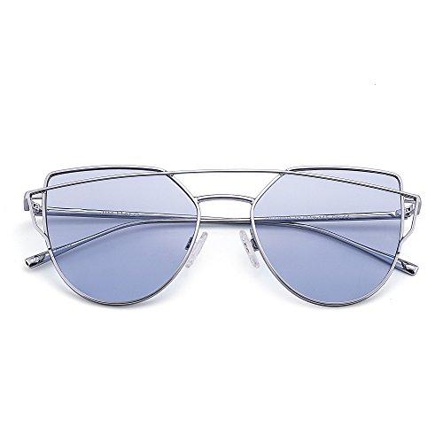 Retro Cat Eyes Sunglasses Oversized Flat Mirrored Lens Twin Beam Frame Women Men (Silver / Transparent - Blue Transparent Frame