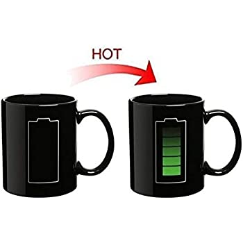 Cynthia Tech Battery Color Changing Thermometer Heat Cup Sensitive Porcelain Tea Coffee Mug