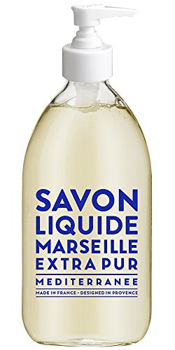Compagnie de Provence Savon de Marseille Extra Pure Liquid Soap - Mediterranean Sea - 16.9 Fl Oz Glass Pump Bottle