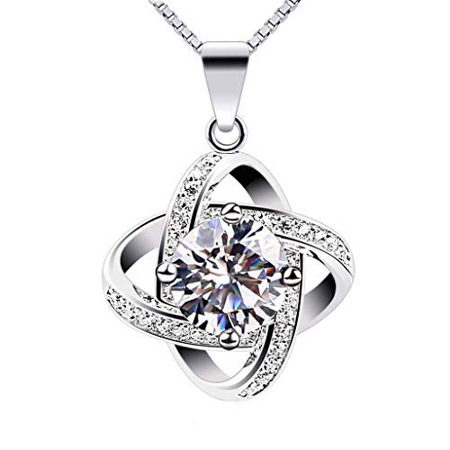 Haluoo Dainty 925 Sterling Silver Cubic Zirconia Diamond Pendant Necklace Rhinestones Solitaire Charm Necklace for Women Girls Bridal Wedding Anniversary Jewelry 18″ Chain (Silver)