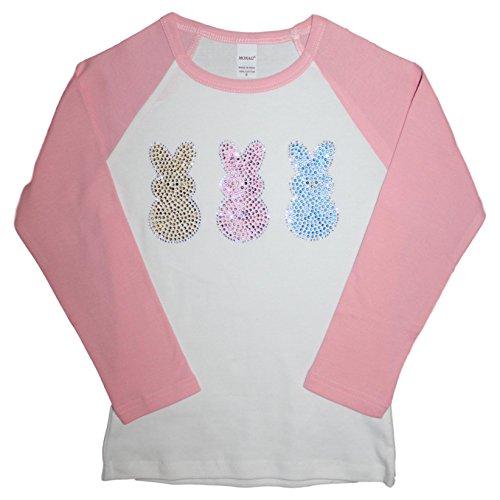 FanGarb Rhinestone Easter Bunny Girls' Peeps 3/4 Sleeve Tee 2T-12yr (Youth Med (10yr), (Bunny Girls T-shirt)