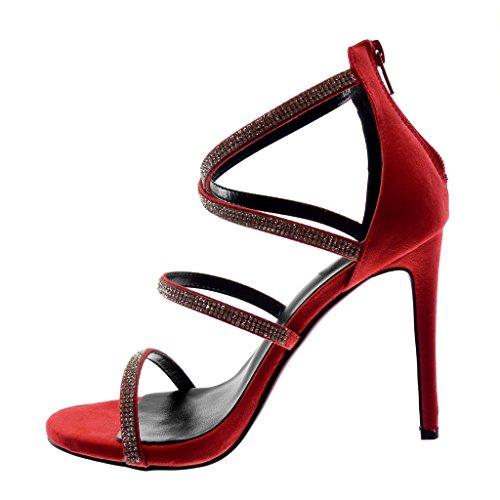 Diamant Haut Lanières Aiguille bride Cm Rouge Sexy Stiletto Mode 11 Sandale Multi Cheville Croisées Talon Escarpin Lanière Chaussure Strass Angkorly Femme agFq66