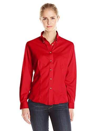 Lee Women's Plus Size Dual Action Long Sleeve Work Shirt, Red, XX-Large (Red Sleeve Long Button)
