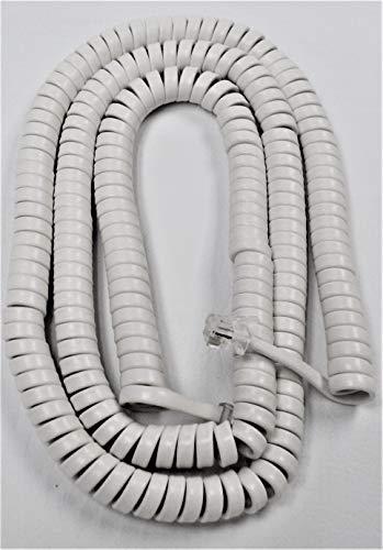 Bright White 25' Ft Long Handset Cord for Emerson Phone Slimline Big Button EM2116 EM2116WH EM2246 EM2655 EM2655WH EM2516 EM2516WH EM2632WH EM2518 EM2518WH EM300 EM300WH by DIY-BizPhones ()