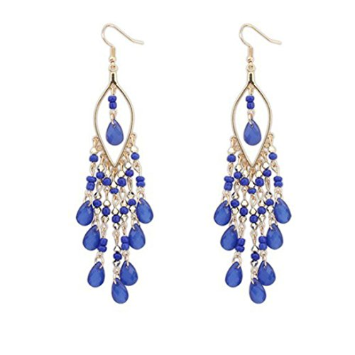 Clearance Deal! Hot Sale! Earring, Fitfulvan 2018 Women Charm Bohemian Colorful Beads Ear Drops Dangle Tassels Earrings (Blue) (Flower Circular Necklace)