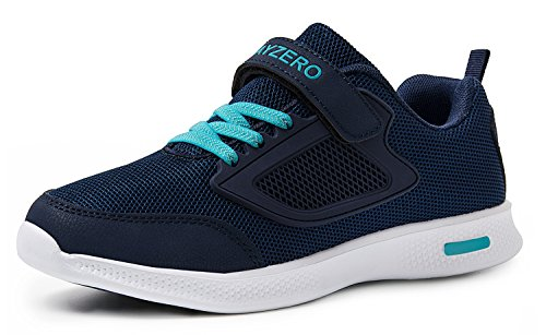 Vivay Children Kids Sneakers Breathable Athletic Running Walking Tennis Shoes for Boys (2# Dark Blue,Size 2 Little Kid) (Best Running Shoes For Children)