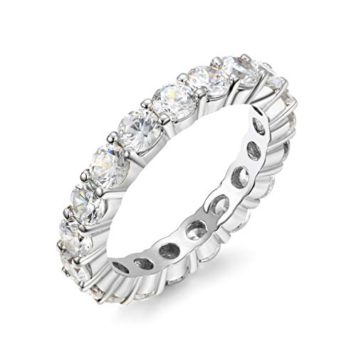 NYC Sterling 3mm Round Sterling Silver 925 Cubic Zirconia Cz Eternity Engagement Wedding Band Ring (Rhodium-Plated-Silver, 8)