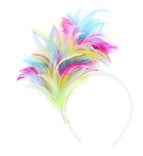 Felizhouse 1920s Fascinator with Feathers Headband for Women Kentucky Derby Wedding Tea Party Headwear (Colorful) -