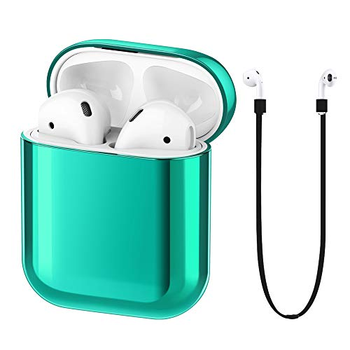 - FRTMA Compatible with Apple Airpods Case PC Protective Cover & Anti-Lost Lanyard Apple Airpods 1st Gen Accessories Kits(Emerald Green)