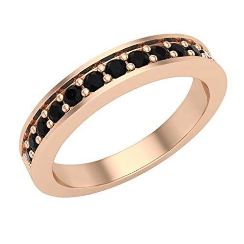 Halfway Semi-Eternity Black Diamond Wedding Ring/Band Comfort Fit 14K Rose Gold (Ring Size 6.5) ()