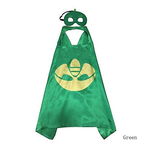 NEW Superhero PJ Masks Cape/Mask Set Gekko Owlette Catboy Kids Costume Party (green)