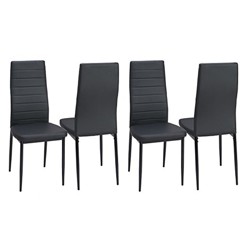 Dining Side Chairs Set of 4 PU Leather Elegant Design High Back Home Kitchen Furniture Black (Chair Striped Modern)