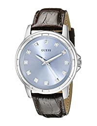 GUESS Men's U0519G2 Classic Stainless Steel Watch with Ice Blue Diamond Dia & Brown Croco-Like Genuine Leather Strap