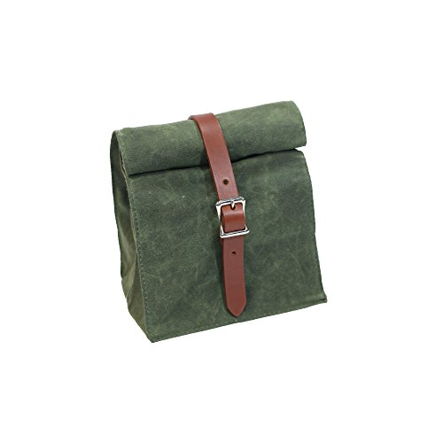 Lunch Tote - Waxed Canvas - Olive - Made in USA by Hardmill