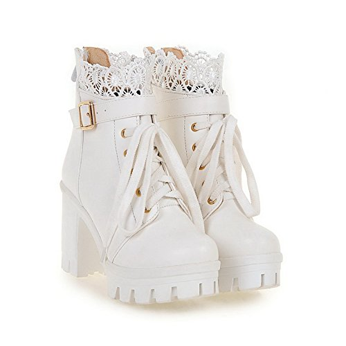 Solid High PU Heels Boots Women's AmoonyFashion Low Top White Zipper qZX7E
