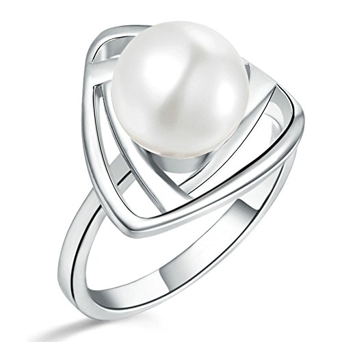 Onefeart White Gold Plated Ring for Women White Pearl Triangular Ring for Lover Gift Size 8