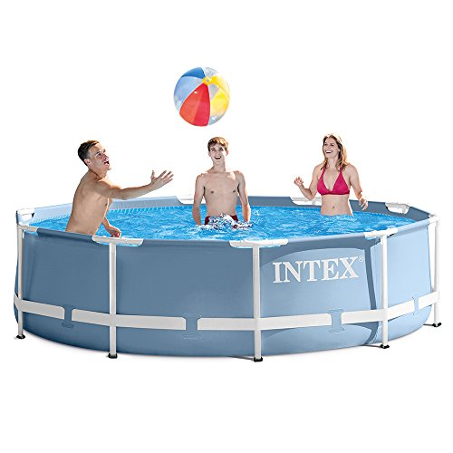 INTEX 12ft X 30in Prism Frame Pool Set with Filter Pump (Frame Swimming Metal Pools)