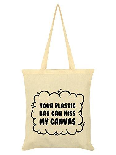 Tienda Online De Venta Aclaramiento Falsa Línea Borsa Tote Your Plastic Can Kiss My Canvas 38 x 42 cm in crema 84ObZGO68