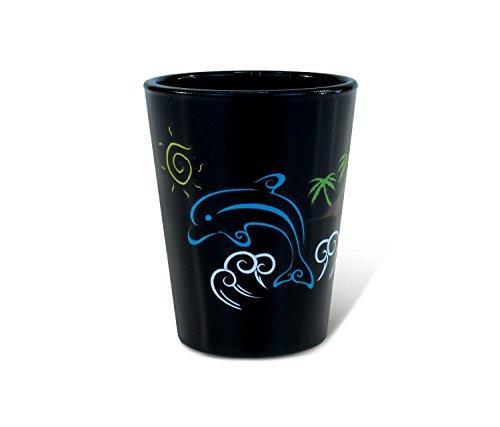 (Puzzled Dolphin Black Shot Glass 1.70 Oz Quality Glassware for Bar Collection Novelty Liquor/Spirits Drinking Glass - Marine Life Beach Animal Nautical Theme)