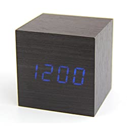 Latest Design Fashion Black Wood Cube Mini Blue LED Wooden Digital Alarm Clock -Time Temperature Date Display - Voice and Touch Activated