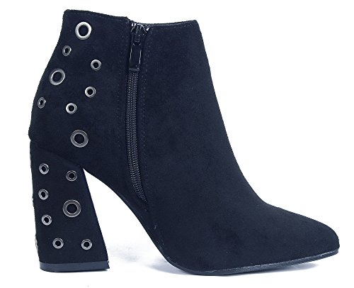AgeeMi Shoes Women Block Heel Ankle Winter Boots With Zipper and Metal Hole Black lMwkb