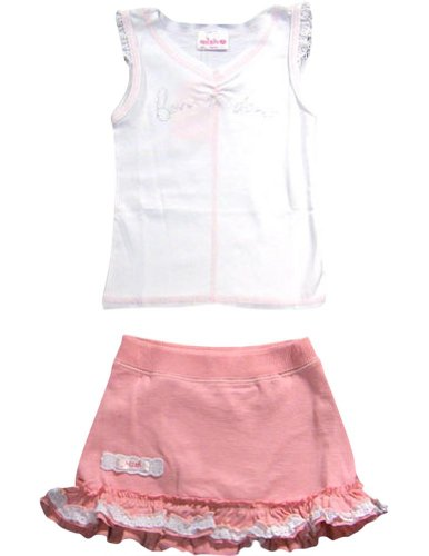 Mish - Baby Girls Sleeveless Skort Set, White, Pink 16067-12Months