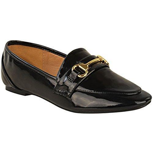 Klassinen Naisten Muoti Älykäs Muodollinen Loafers Brogues Patentti Janoinen Tasainen Työtä Hyvät Kultalaatat Koko Musta Koulukengät Detail FSrxa0F
