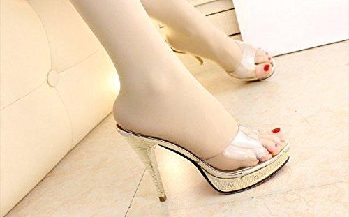 oren 7.5 US 38 EU 5 UK SCLOTHS été Tongs Femme Chaussures Avec Fine Transparent talon haut étanche