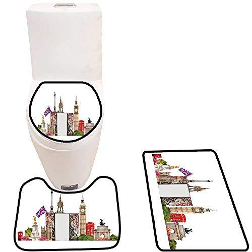 3 Piece Toilet lid Cover mat Set London Tourist Collage London s Famous Builds Against White backgroun Customized Rug Set