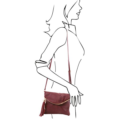 Tuscany Leather TL Young Bag Bolso con bandolera y borla Marrón Bolsos de asa larga Bordeaux
