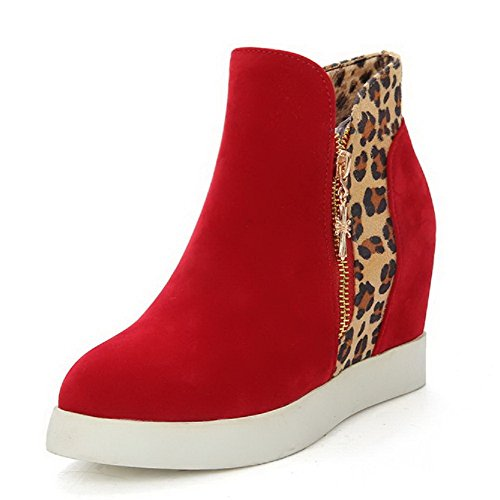 Heels Closed Round Red Zipper WeenFashion Boots Women's Assorted Color Frosted Toe High E6q6TZ