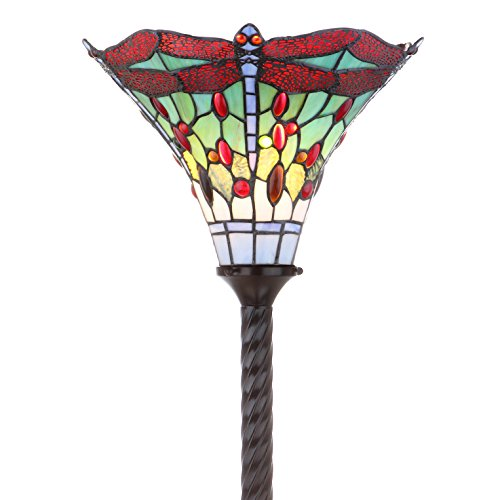 "JONATHAN Y JYL8002A Dragonfly Tiffany-Style Torchiere Floor Lamp, 15.0"" x 71.0"", Bronze/Red"
