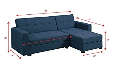 Poundex F7895 Bobkona Medora Linen-Like Left or Right Hand Chaise Adjustable Sectional with Compartment, Navy