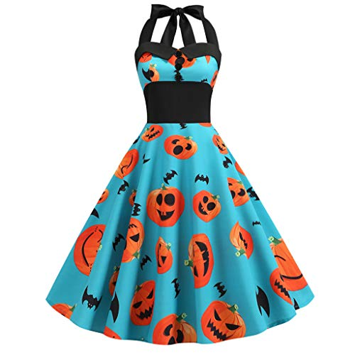 KLFGJ New Ladies Dress Halloween Vintage Sleeveless Bat Costumes Printed Evening Party Dresses Blue