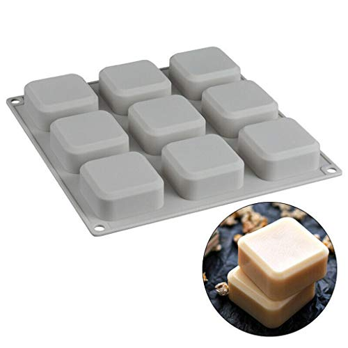 Transser 9 Grid Food Grade Silicone Soap Mold Chocolate Fondant Cake Candy Jellies Baking Making Bakeware Mould Cooktops (Gray)