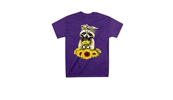 Fainosmny Summer Tops Blouses for Womens Sunflower Lovely Raccoon Print T-Shirt O-Neck Casual Top